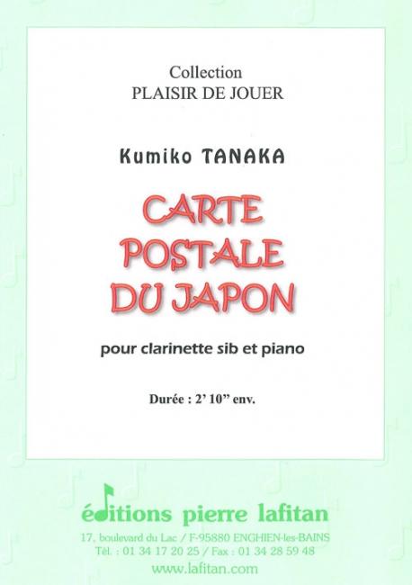 PARTITION CARTE POSTALE DU JAPON, 1 titre, clarinette et piano : conducteur et partie de ...